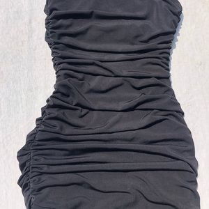 City Triangles Dresses - One Shoulder Ruched Cocktail Dress in Black/Silver